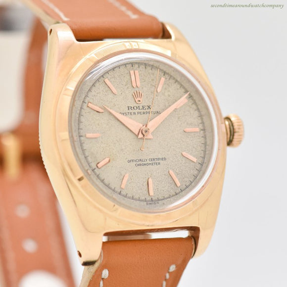 1949 Vintage Rolex Bubbleback Reference 5050 18k Rose Gold Watch (# 13164)