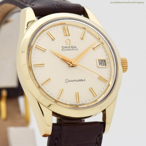 1964 Vintage Omega Seamaster Ref. 166.010 14k Yellow Gold Shell Over Stainless Steel Watch