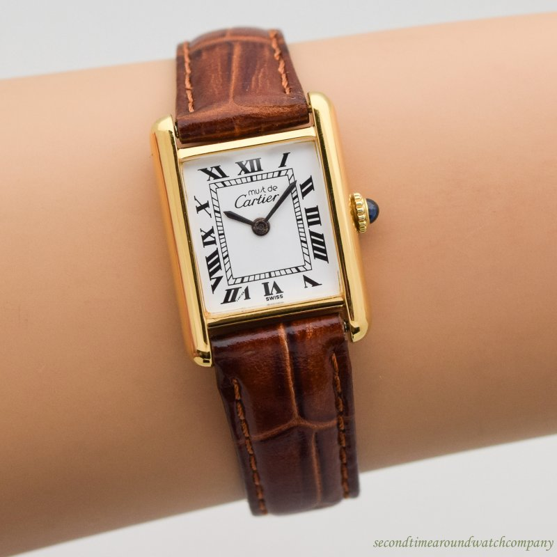 1990's era Cartier Tank Must De Ladies Sized 18k Yellow Gold Plated Over Sterling Silver Watch