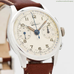1950's Vintage Bovet 2-Register Chronograph Stainless Steel Watch