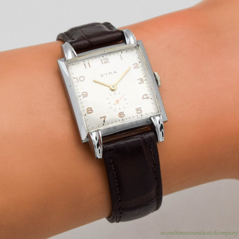 1940's Vintage Cyma Square-shaped Stainless Steel Watch