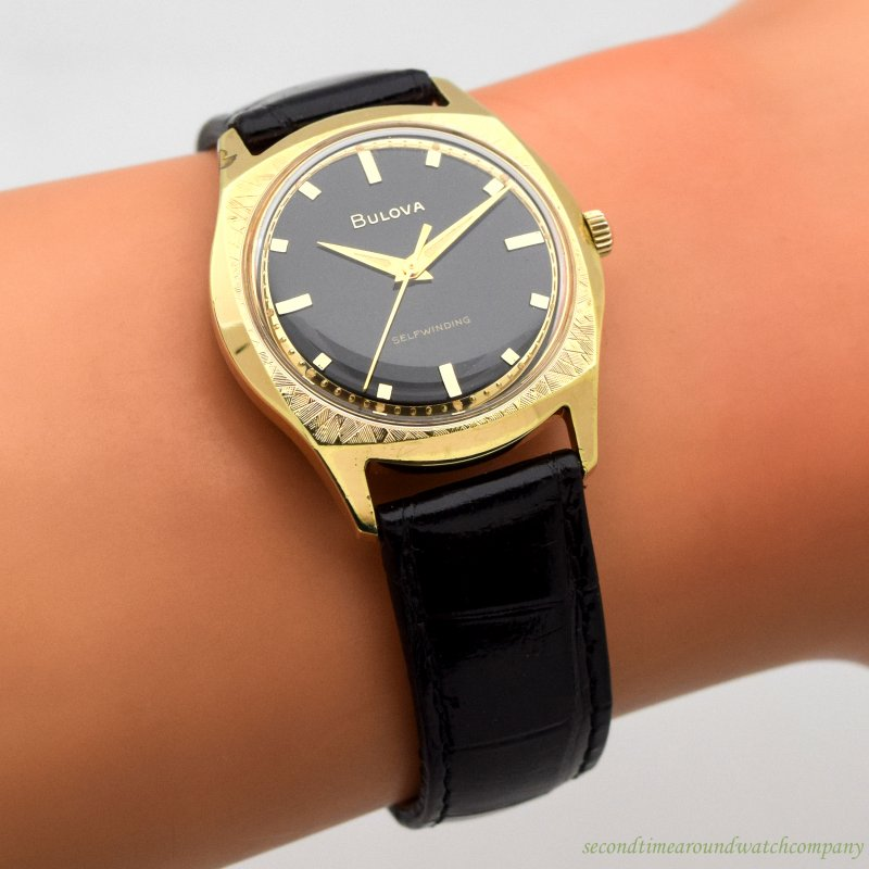 1967 Vintage Bulova Yellow Gold Plated & Stainless Steel Watch