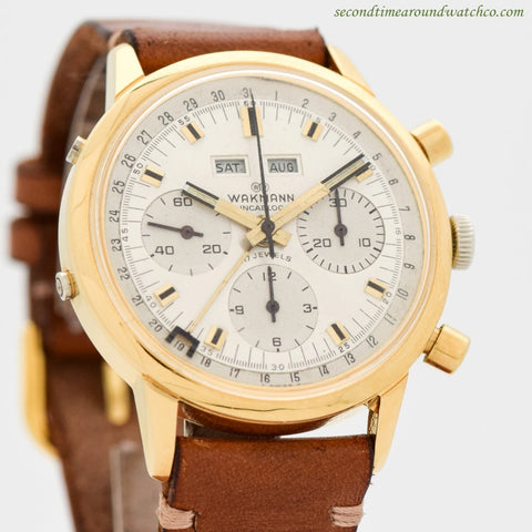 1960's Vintage Wakmann Triple Date Moonphase Chronograph in Base Metal & Stainless Steel