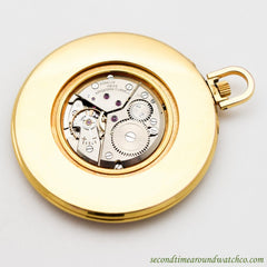 SOLD - 1970's Vintage Gubelin World Time 14k Yellow Gold Plated Pocket Watch
