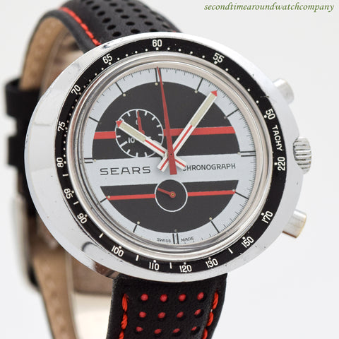 1970's Vintage Sears-Heuer One Register Chronograph Stainless Steel Watch