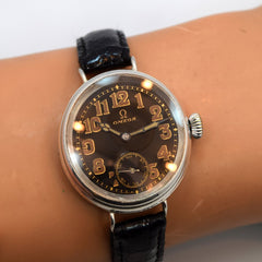 1918 Vintage Omega Sterling Silver Watch