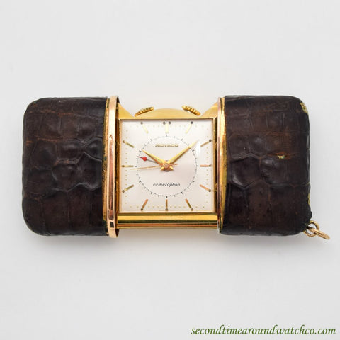 1960's Vintage Movado Ermetophon Alarm Yellow Gold Filled Travel Clock