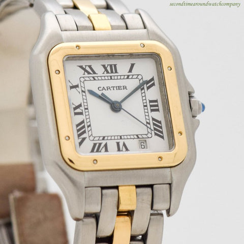 1990's Cartier Panthere Medium Size 18k Yellow Gold & Stainless Steel Watch
