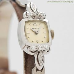 1960's Vintage Hamilton Ladies Platinum & Diamonds Watch