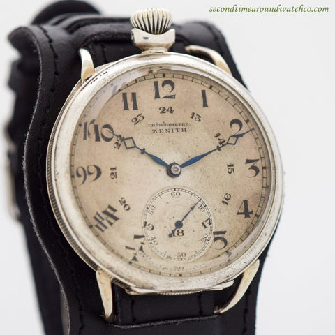 1921 Vintage Zenith Silver Pocket Watch Conversion