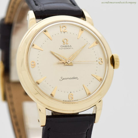 1952 Vintage Omega Seamaster 14k Yellow Gold Watch