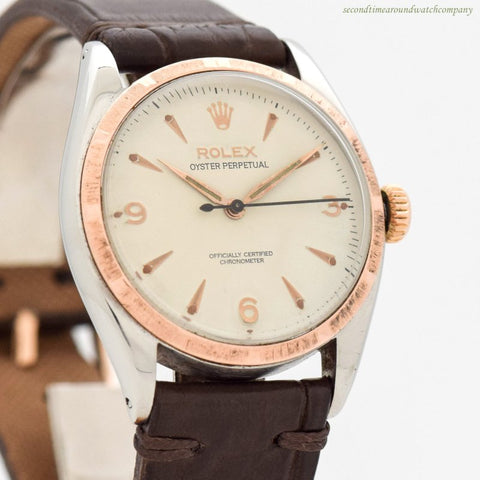 1953 Vintage Rolex Oyster Perpetual Ref. 6085 14k Rose Gold & Stainless Steel Watch
