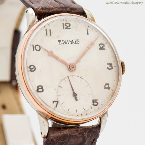 1940's Vintage Tavannes 14k Rose Gold, Stainless Steel & Chrome Watch