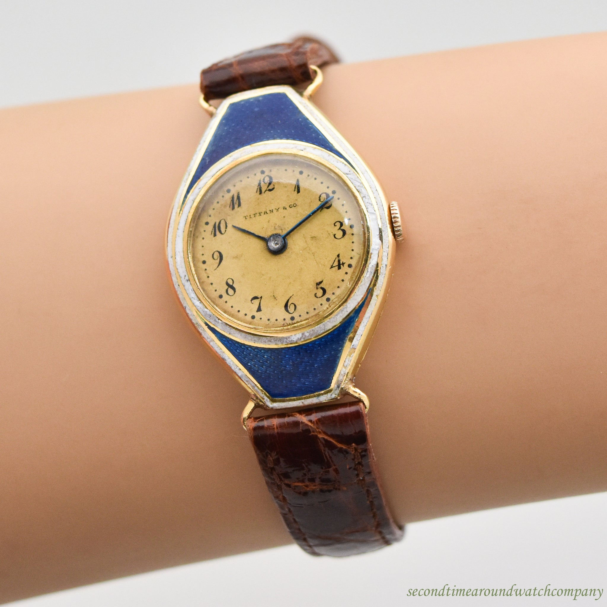 1920's Vintage Tiffany & Co. Tonneau-shaped Ladies 18k Yellow Gold Watch