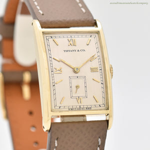 1944 Vintage Tiffany & Co. Rectangular-shaped 14k Yellow Gold Watch