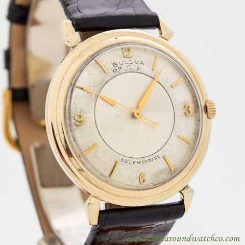 1950's Vintage Bulova Mystery Dial 10k Yellow Gold Watch