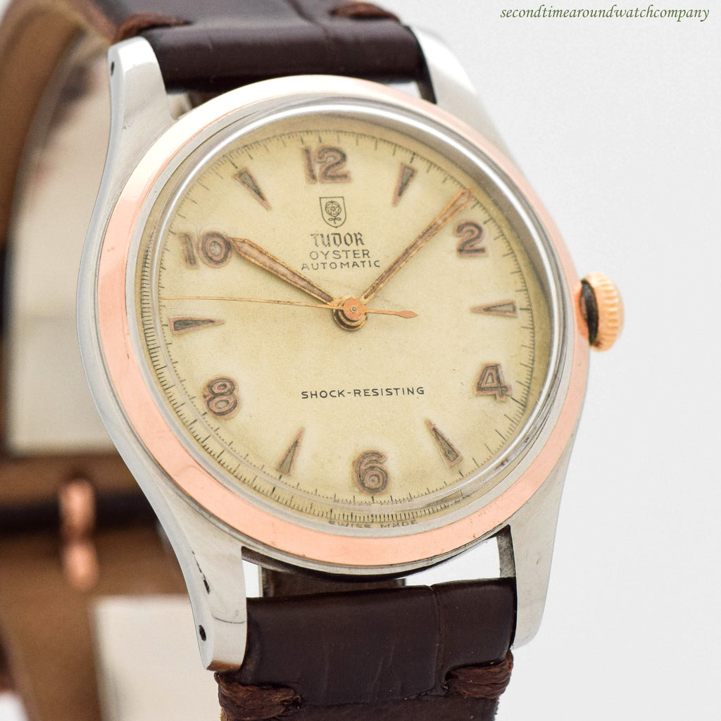 1941 Vintage Tudor Oyster 14k Rose Gold & Stainless Steel Watch