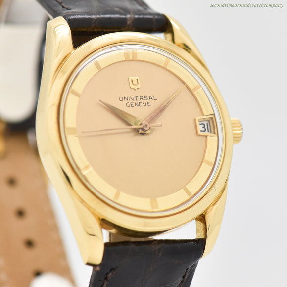1959 Vintage Universal Geneve Polerouter Date 18k Yellow Gold Watch