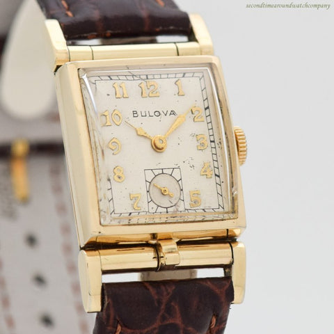 1950 Vintage Bulova Rectangular-shaped 10k Yellow Gold Filled Watch