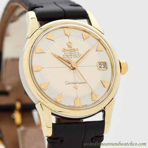 1959 Vintage Omega Constellation Ref. 14393-3-SC 14k Yellow Gold Shell & Stainless Steel Watch