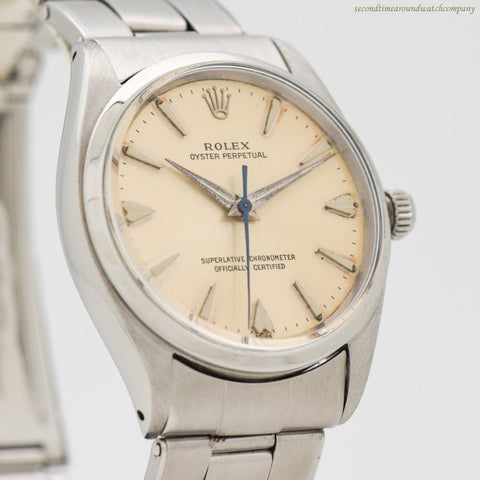 1960 Vintage Rolex Oyster Perpetual Reference 1002 Stainless Steel Watch