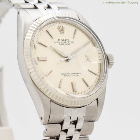 1963 Vintage Rolex Datejust Ref. 1601 14k White Gold & Stainless Steel Watch
