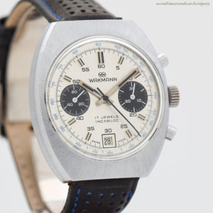 1970's Vintage Wakmann 2-Register Chronograph Stainless Steel Watch