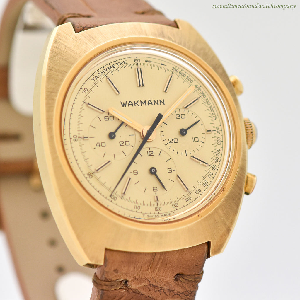 1960's Vintage Wakmann 3-Register Chronograph 14k Yellow Gold Plated With Stainless Steel Case Back Watch
