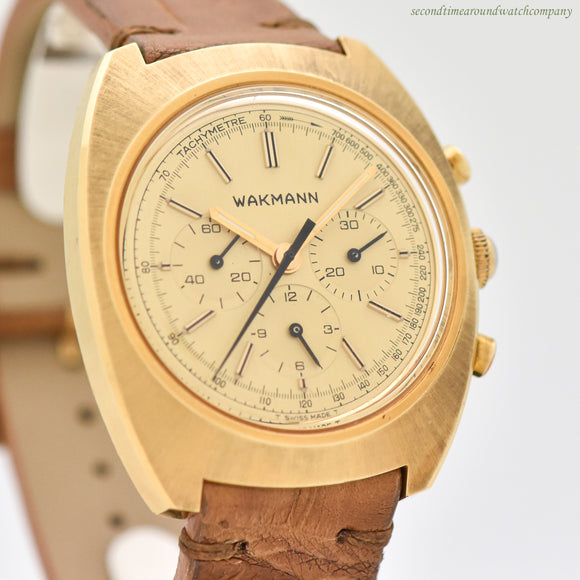 1960's Vintage Wakmann 3-Register Chronograph 14k Yellow Gold Plated With Stainless Steel Case Back Watch (# 12969)