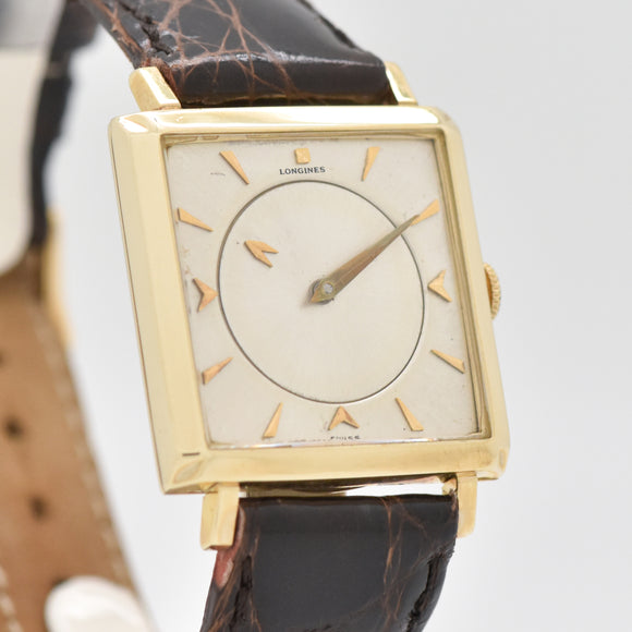 1959 Vintage Longines Mystery Dial Ref. 1050 14k Yellow Gold Watch