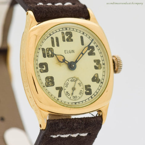 1925 Vintage Elgin Cushion-shaped 10k Yellow Gold Filled Watch