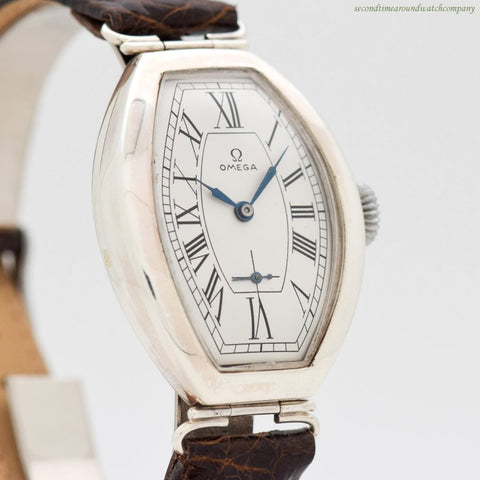 1937 Vintage Omega Tonneau-shaped Silver Watch