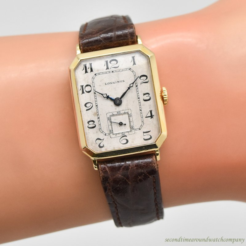 1926 Vintage Longines Octagonally-shaped 18k Yellow Gold Watch