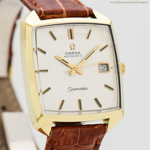 1970 Vintage Omega Seamaster Compressor Reference 166.042 18k Yellow Gold Plated & Stainless Steel Watch