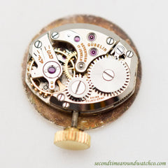 1940's Vintage Gubelin Brooch Pin Yellow Gold Plated Watch