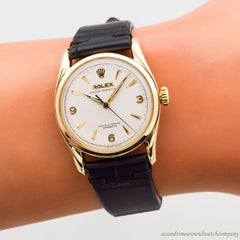 1951 Vintage Rolex Bombe Ref. 6090 14k Yellow Gold Watch