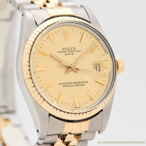 1981 Vintage Rolex Date Automatic Ref. 15053 18k Yellow Gold & Stainless Steel Watch