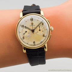 1945 Vintage Omega 2-Register Chronograph Watch in 18k Yellow Gold