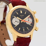 1970's Vintage Elgin 2-Register Chronograph Yellow Gold Plated & Base Metal Watch