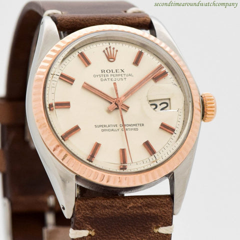 1971 Vintage Rolex Datejust Ref. 1601 14k Rose Gold & Stainless Steel Watch