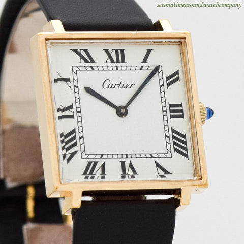1970's Vintage Cartier Ref. 3394 14k Yellow Gold Plated Over Sterling Silver Watch