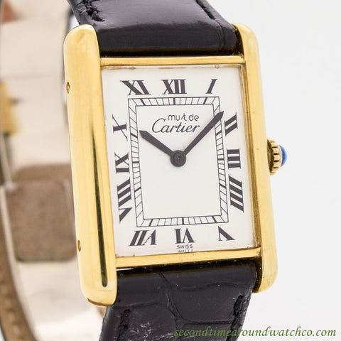 1990's Cartier Tank Must De Men's Size 18k Yellow Gold Plated Watch