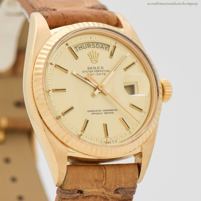 1970 Vintage Rolex Day-Date President Reference 1803 18k Yellow Gold Watch