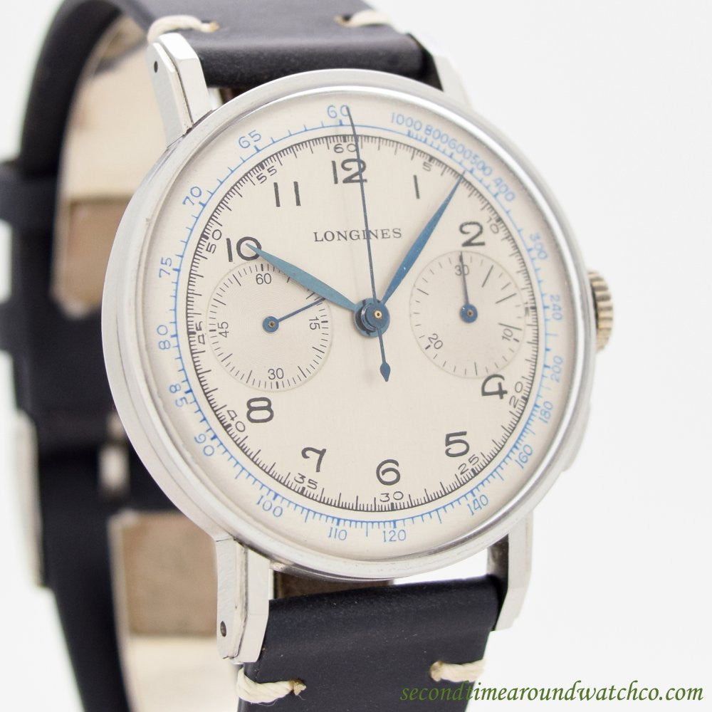 1941 Vintage Longines 2-Register Chronograph 13ZN Stainless Steel Watch