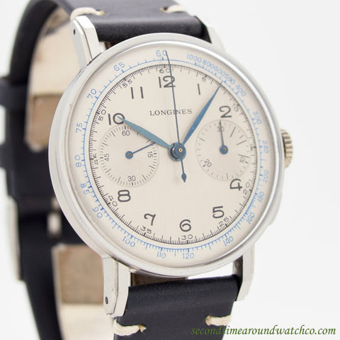 Sold-1941 Vintage Longines 2-Register Chronograph 13ZN Stainless Steel Watch