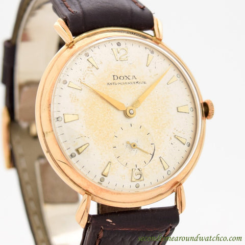 1950's Vintage Doxa Antimagnetique 14k Rose Gold Watch