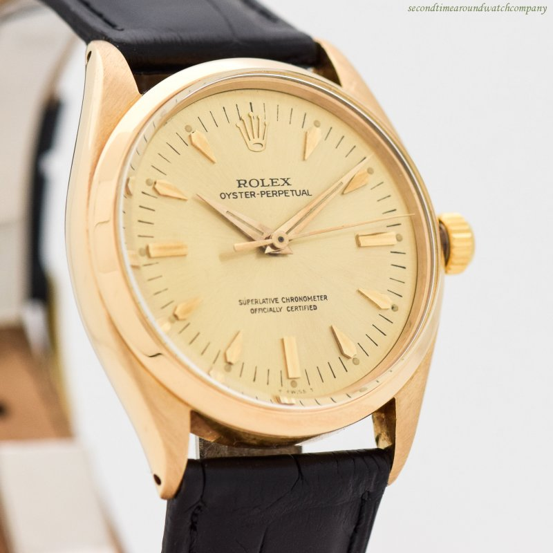 1955 Vintage Rolex Oyster Perpetual Ref. 6564 18k Yellow Gold Watch