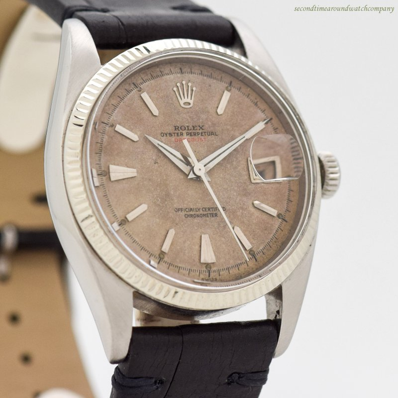 1954 Vintage Rolex Red Datejust Ovettone Reference 6305-1 14k White Gold & Stainless Steel Watch