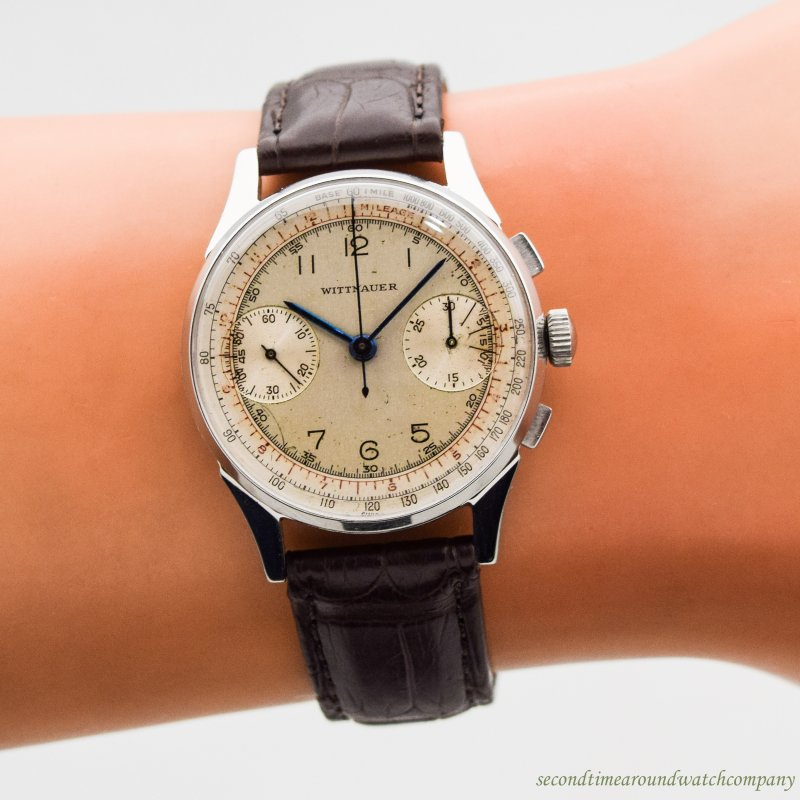 1950's Vintage Wittnauer 2-Register Chronograph Stainless Steel Watch