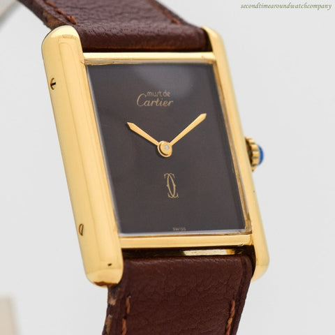 1980's Vintage Cartier Tank Must De Men's Sized 18k Yellow Gold Plated Watch